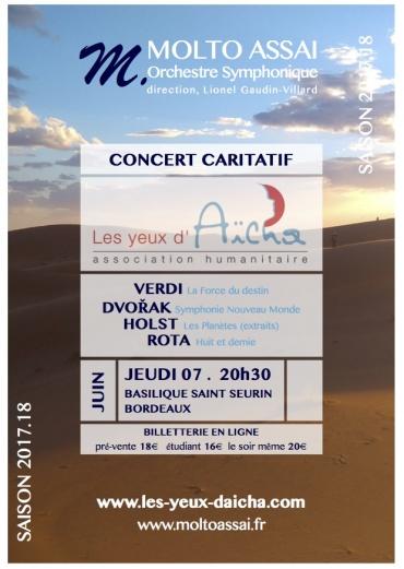 Concert «Molto Assaï» pour les Yeux d'Aïcha, le 7 juin à la basilique Saint Seurin